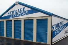 Row of small outdoor storage units