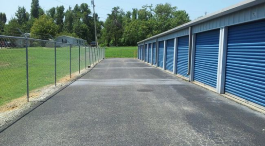 Row of storage units with drive-up access