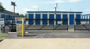 Gated entrance and keypad to storage facility