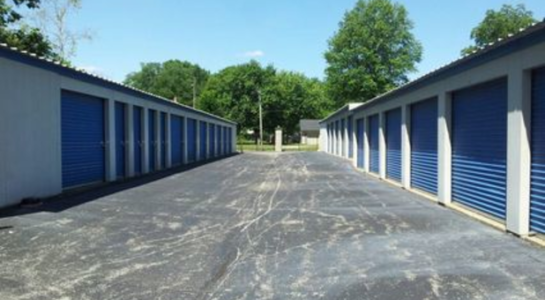 Rows of outdoor storage units