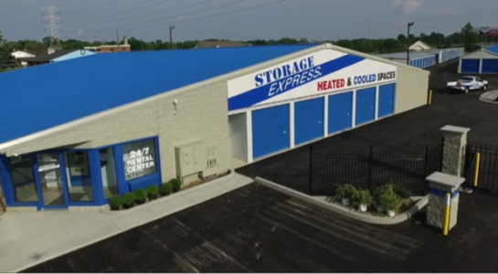 Aerial view of storage facility on Hanna Avenue in Indianapolis