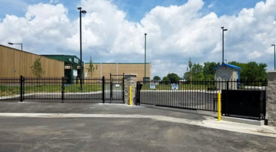 Gated and secure entrance for storage facility