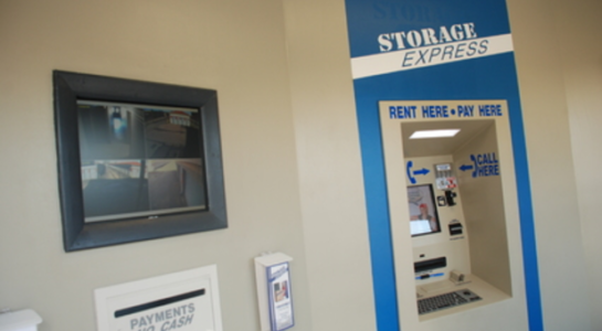 Self-storage pay and rent booth