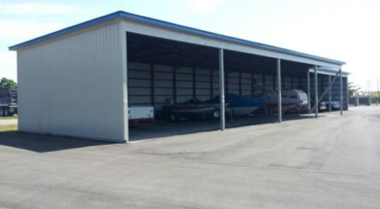 Storage building for cars, boats, and RVs