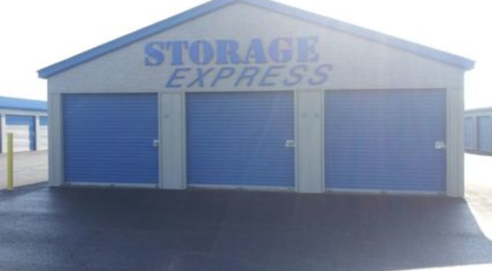 3 outdoor storage units with drive-up access
