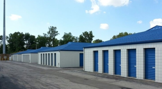 Row of small and medium sized outdoor storage units