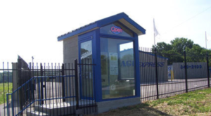 Rental booth and entrance to storage facility