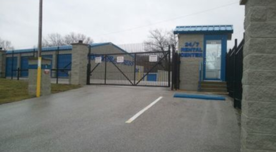 Secure, gated entrance to storage facility