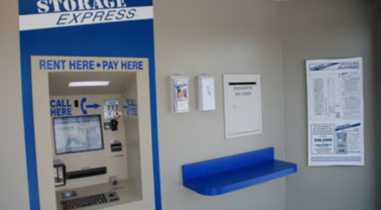 Machine used to rent and pay for storage units