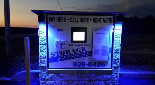 Station for paying for units, renting units, and contacting customer service