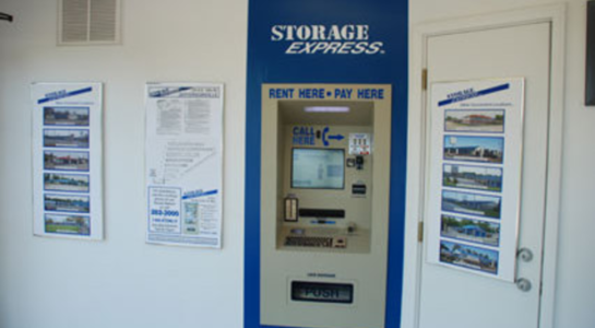 Machine used to pay for and rent storage units