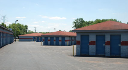 Rows of self-storage units of varying sizes
