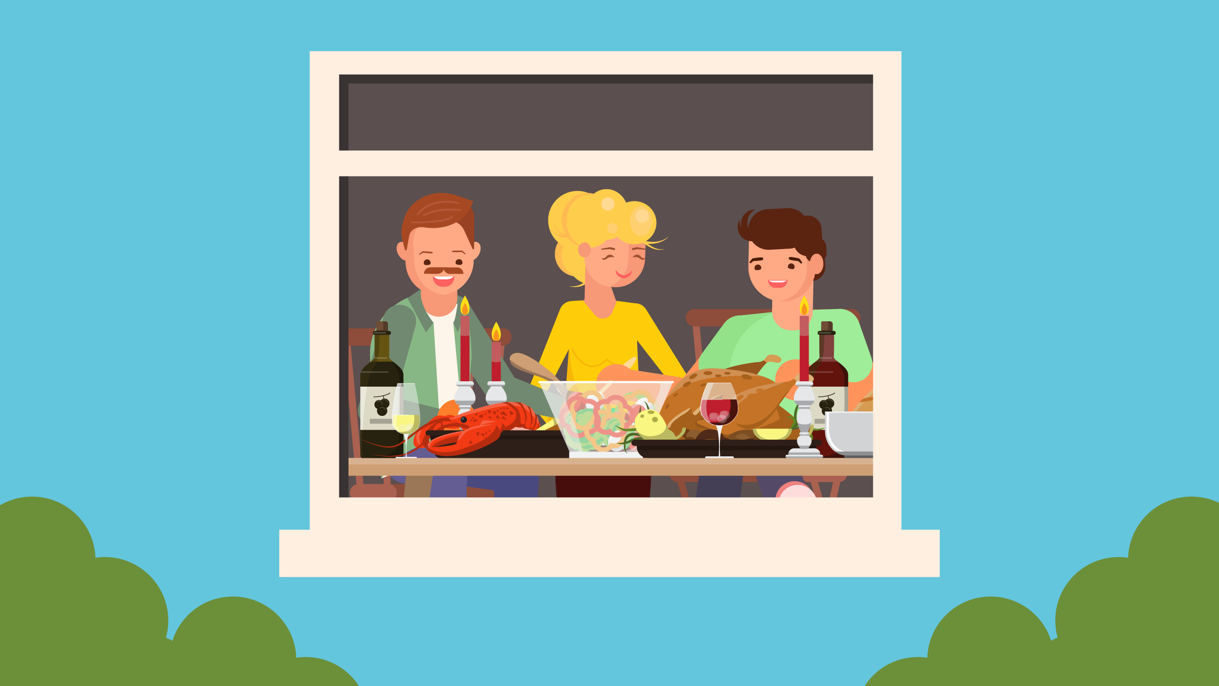 Illustration of family enjoying quality conversations over a home-cooked dinner.