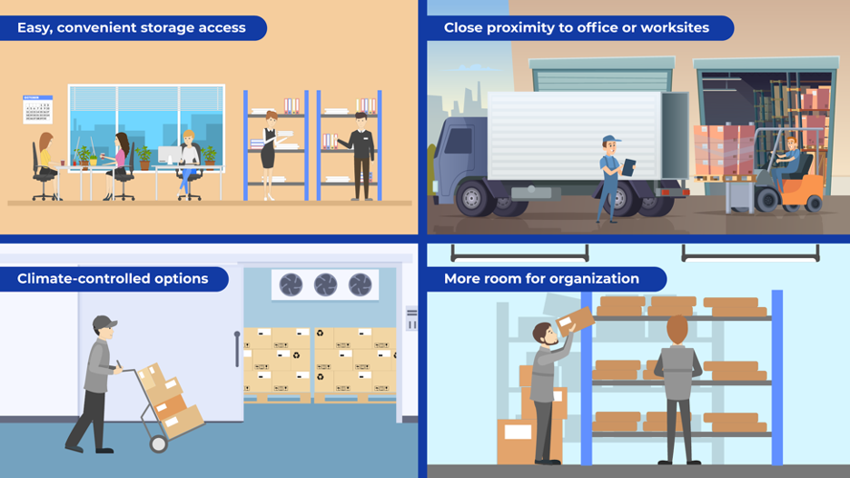 4 storage solutions to simplify commercial storage: convenient access, close proximity to worksite, climate-controlled options, and more room for organization