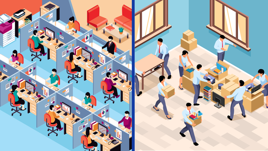 a packed office running out of space versus people downsizing and moving out of an office space